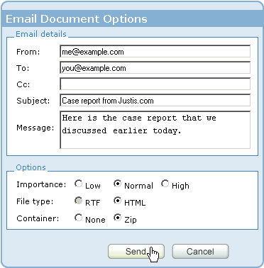 Email Document Options