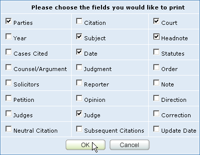 Selecting fields to print