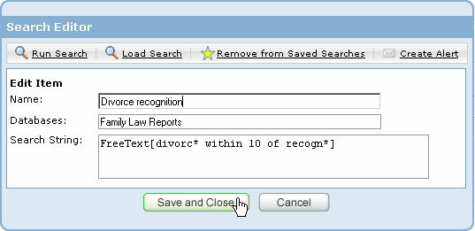 Editing a saved search